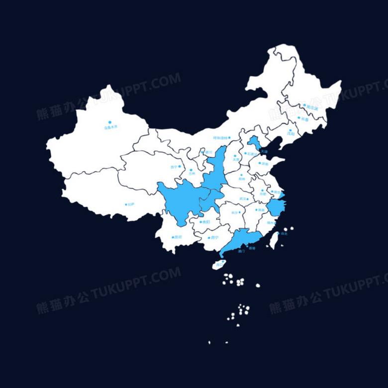 海报简约中国地图素材设计遇见设计白色字体图片