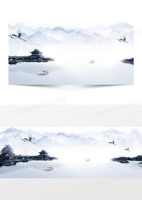 中国古风水墨山水画banner背景
