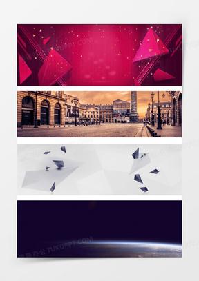 几何星空建筑的淘宝海报背景图