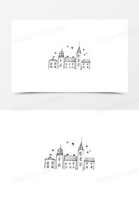 卡通动物可爱卡通 卡通手绘城堡房子