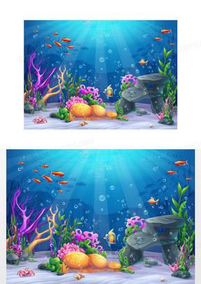 矢量卡通海洋海底世界背景素材