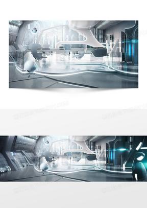 机械科技感金属色背景banner