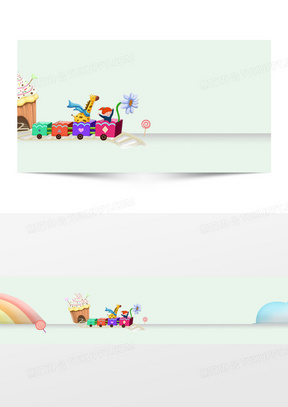 美食冰淇淋梦幻卡通背景banner