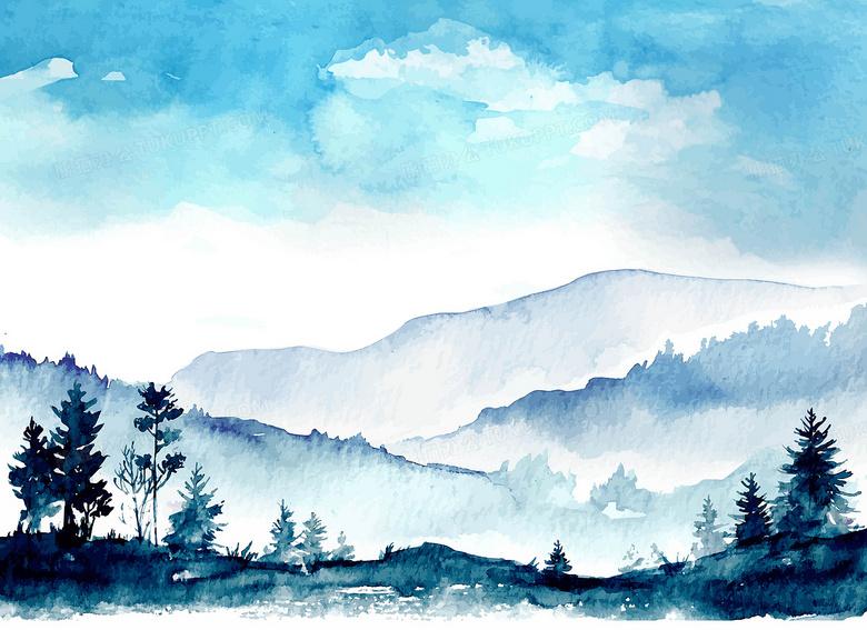 矢量古风水彩远山天空树林背景