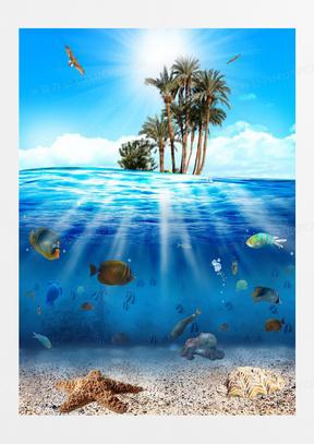 创意广告元素夏日海底世界图片