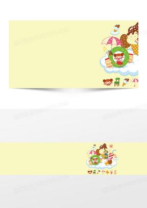 卡通冰淇淋美食背景banner