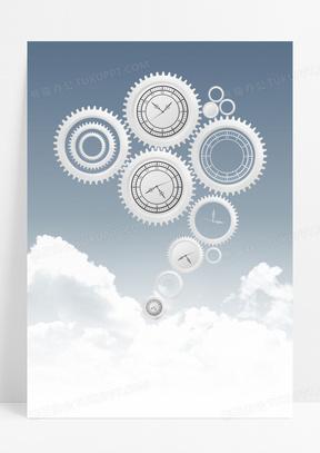 简约齿轮机械手表印刷背景