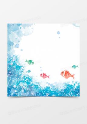 卡通海底世界水彩手绘背景