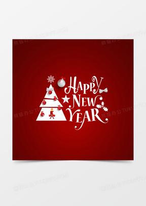 简约圣诞节新年字体贺卡背景素材