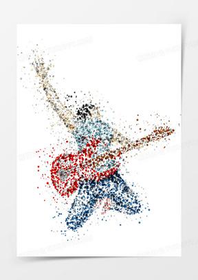 弹吉他的矢量人物