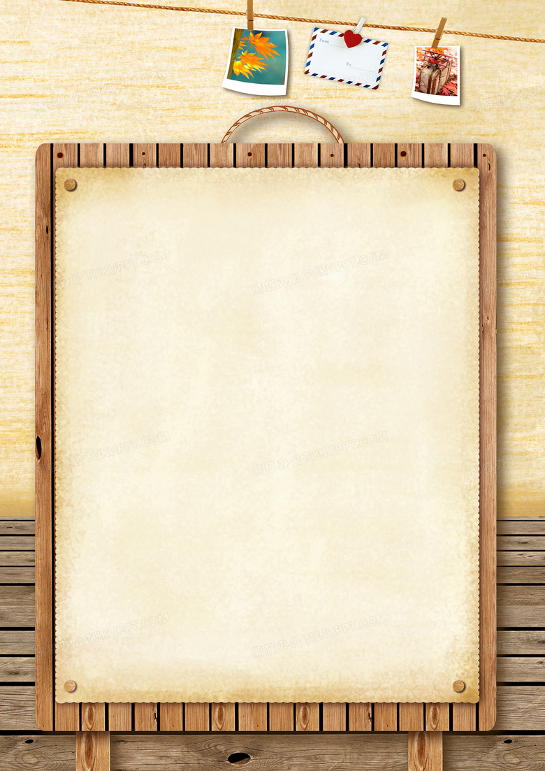 四角木板相片夹子木纹边框背景背景图片素材免费下载