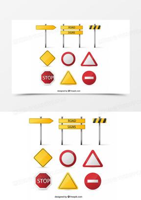 空白交通警示牌矢量素材下载,