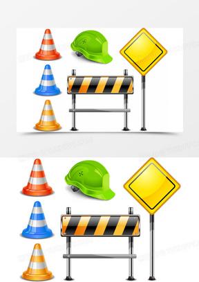 路障路牌矢量素材,路障,维修,安全帽,