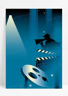 扁平几何电影工厂海报背景