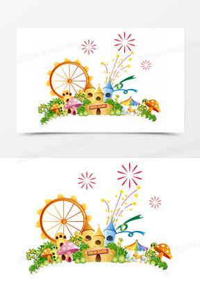 卡通背景 卡通游乐园 卡通城堡