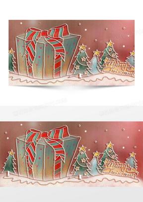 粉彩手绘圣诞素材