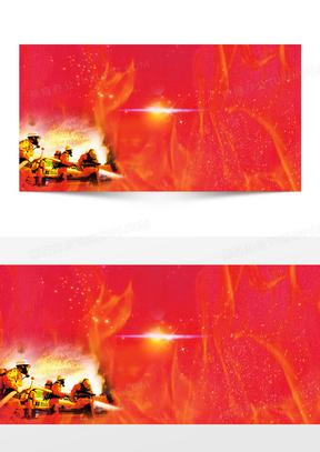 简约消防安全红色背景素材