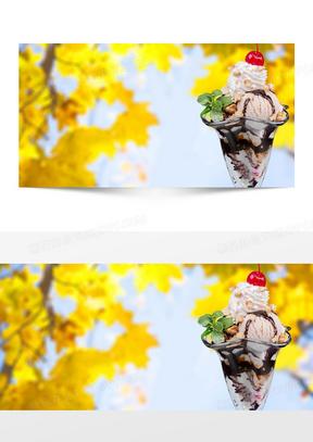 复古冰淇淋美食风景背景