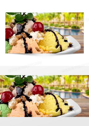 浪漫美食冰淇淋小清新背景