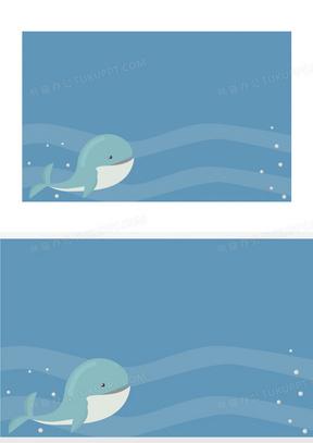 矢量扁平化鲸鱼海底世界背景素材