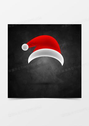 圣诞节红色圣诞帽黑色背景素材