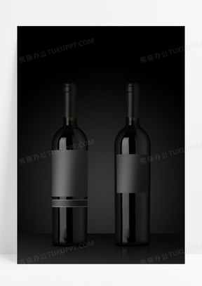 品质生活红酒酒瓶包装黑色质感海报背景素材