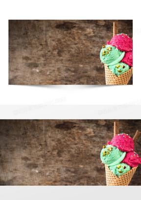 蓝红冰淇淋素材图片