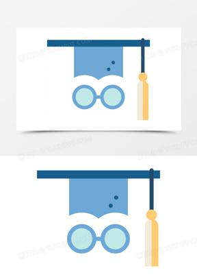 一个蓝色的学士帽