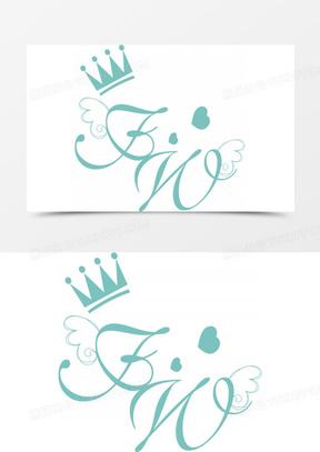 矢量皇冠字体婚礼logo