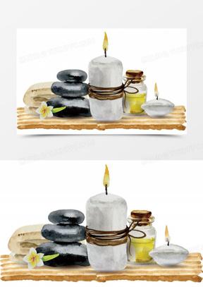 矢量手绘木板上放着石头蜡烛和精油