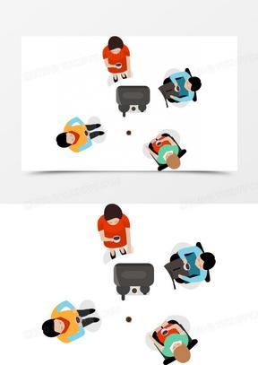 抽象卡通人物喝茶图案