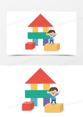 卡通卡通小人图片 卡通积木可爱小孩