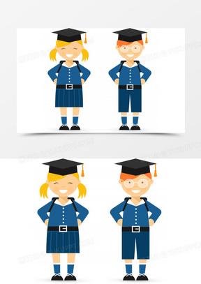 矢量戴学士帽的学生