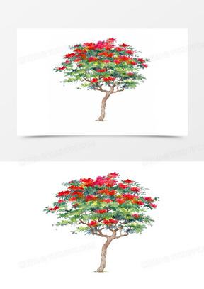 卡通树木素材卡通树木元素 卡通手绘清新花树