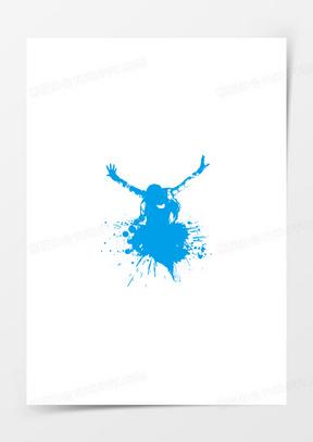 蓝色抽象设计跳跃人物潮流图案