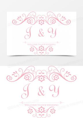 花纹花朵婚礼logo