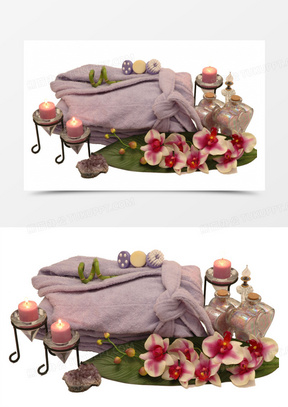 香薰蜡烛与鲜花