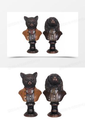 皇家绅士猫摆件家居客厅软装饰品创意复古客厅服装店橱窗道具