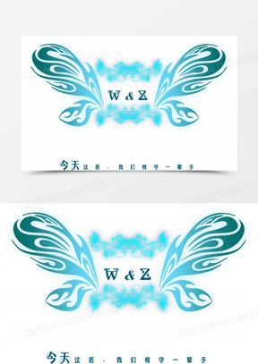 蝴蝶翅膀婚礼logo