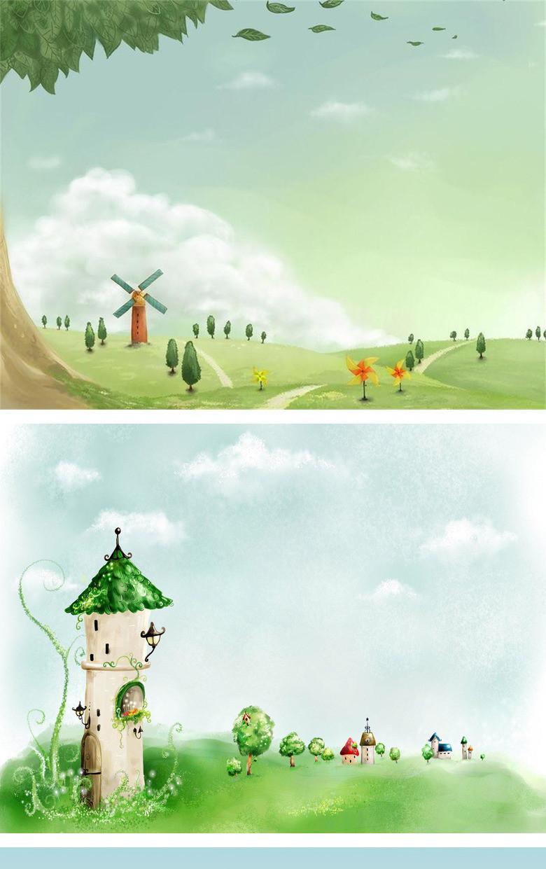 卡通乡村田园风光背景图片PPT模板下载 jpg格式 卡通熊猫办公
