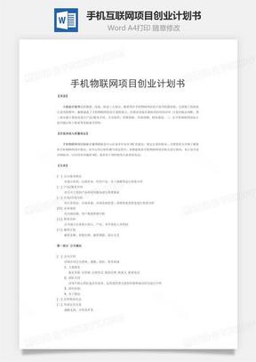 手机互联网项目创业计划书word文档