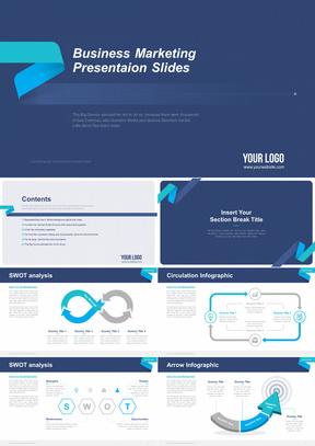 深蓝色英文整洁商业营销分析总结汇报计划商务PPT模板