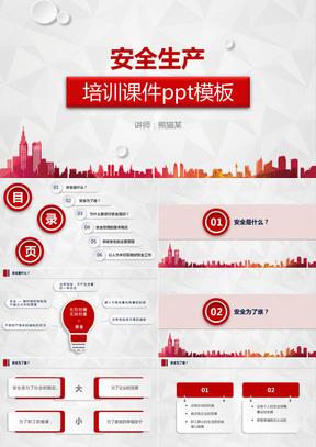 2019立体红色简约大气时尚企业安全生产培训课件PPT模板