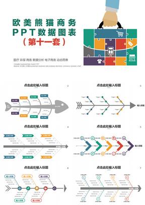 欧美多彩商务数据图表鱼骨图PPT模板