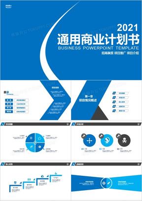 2021年通用蓝色商务商业计划书PPT模板