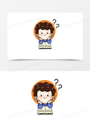 可爱卡通学生思考学习插画