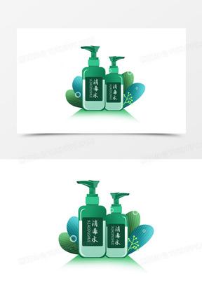 手绘卡绿色消毒用品消毒水