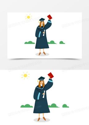 手绘卡通扁平风女生毕业学士服元素