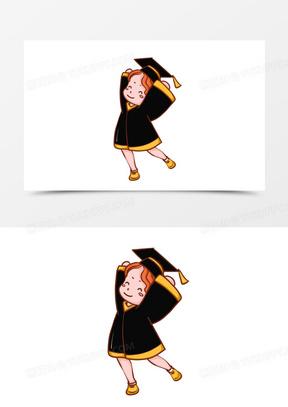 Q版卡通毕业学士服人物元素