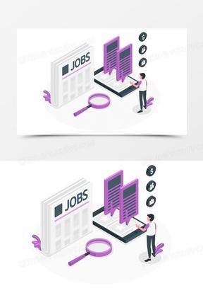 男生查看招聘信息创意插画元素